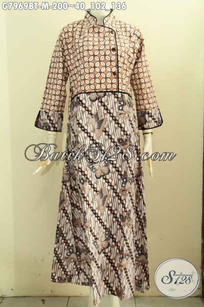 Batik Gamis Kombinasi, Baju Batik Elegan Mewah Krah Shanghai Buatan Solo Pakai Kancing Samping Proses Kombinasi Tulis [G7969BT-M]