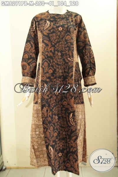 Model Baju Batik Gamis Wanita Terbaru, Hadir Dengan Kombinasi 2 Motif Elegan Bahan Adem Proses Printing Cabut, Penampilan Anggun Dan Mempesona [GM8291PB-M]