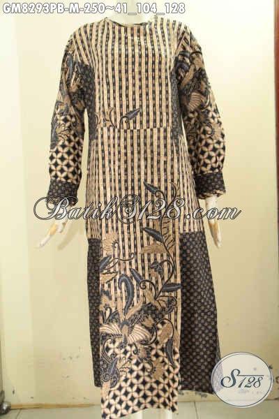 Model Baju Batik Gamis Terkini Dengan Kombinasi 2 Motif Busana Batik Muslim Wanita Berhijab Desain Istimewa Di Lengkapi Kancing Depan Cocok Untuk Acara Formal Gm8293pb M Toko Batik Online 2021