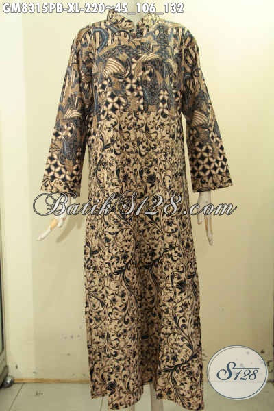 Produk Terkini Gamis Batik Solo Jawa Tengah, Busana Batik Elegan Terbaru Bahan Adem Proses Printing Pakai Kancing Depan Harga 200 Ribuan Saja, Size XL