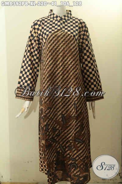 Model Produk Baju Batik Gamis Wanita Dewasa, Hadir Dengan Krah Shanghai Berpadu Motif Klasik Elegan, Busan Batik 2 Warna Pakai Resleting Belakang Untuk Tampil Berkelas [GM8392PB-XL]