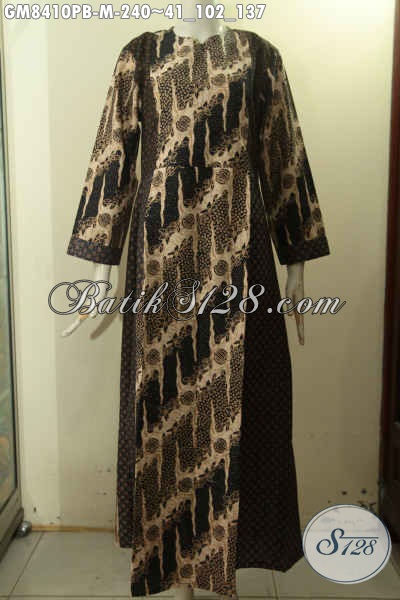 Model Baju Batik Gamis Solo Elegan Dan Berkelas, Busana Batik Gamis Istimewa Proses Printing Cabut Variasi Dua Warna Dengan Resleting Depan Pas Untuk Acara Resmi [GM8410PB-M]