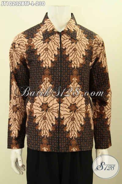 Jual Online Batik Jaket Model Jas, Busana Batik Pria Motif Klasik Kombinasi Tulis Full Furing, Penampilan Makin Berkelas, Bahan Adem Dan Ringan [JT10232BTF-L]