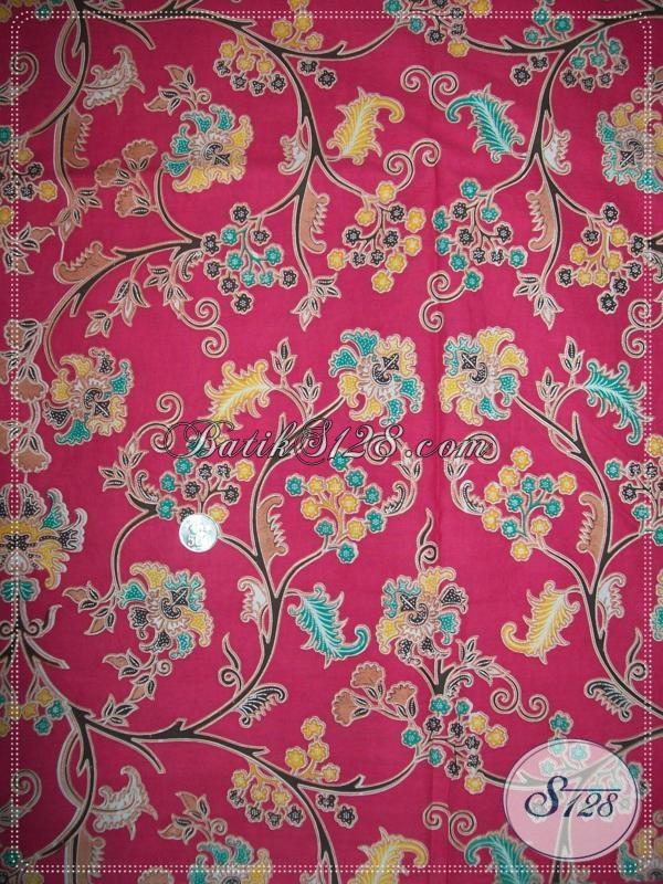 Kain Batik Warna Pink Motif Bunga Untuk Seragam Keluarga [K1035]