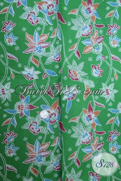 Kain Batik Hijau Bunga-Bunga Sebagai Bahan Pakaian Wanita Untuk Tampil Lebih Trendy Dan Modis, Batik Print Murah Kwalitas Mewah [K1509P]