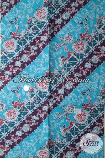 Batik Print Murmer Warna Dasar Biru Laut Dengan Motif ...