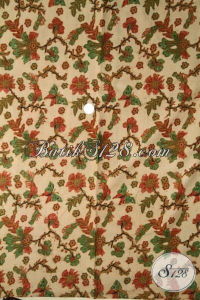 Kain Batik Unik Motif Tanaman Bunga, Batik Bahan Pakaian Wanita Muda Dan Remaja Putri Untuk Tampil Lebih Feminim [K1909BT-240 X 110 cm]
