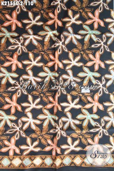 Batik Halus Dasar Hitam Motif Trend Terkini Cocok Untuk Blus Dan Kemeja, Batik Elegan Proses Cap Hanya 100 Ribuan [K2155C-200×105 cm]