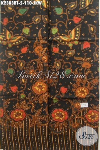 Batik Kain Istimewa Motif Bunga Dengan Warna Klasik, Batik Solo Proses Kombinasi Tulis Bahan Pakaian Wanita Masa Kini, Cocok Untuk Blus Maupun Dress [K2383BT-200x110cm]
