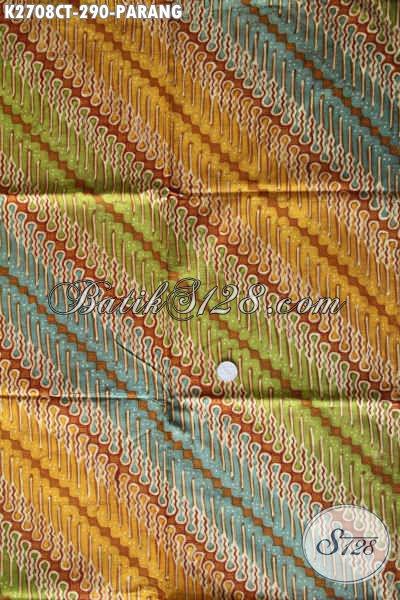 Kain Batik Motif Parang, Batik Klasik Cap Tulis Warna Kombinasi, Elegan Buat Busana Kerja Dan Kondangan [K2708CT-240x110cm]