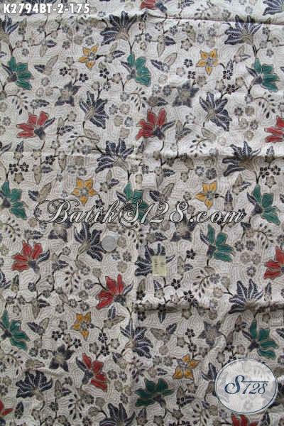 Batik Kain Motif Bunga Modis Untuk Dress Dan Blus, Batik Solo Kwalitas Bagus Proses Kombinasi  Tulis 175K [K2794BT-240x110cm]