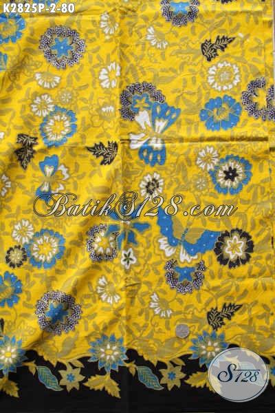 Batik Kain Dasar Kuning Kwalitas halus Motif Kupu Bahan Aneka Busana Wanita Masa Kini Untuk Tampil Trendy [K2825P-240x105cm]
