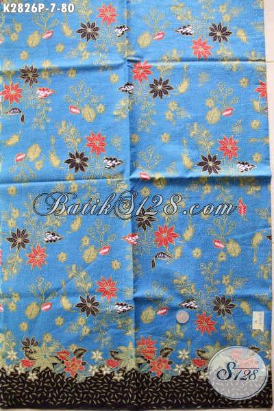 Produk Paling Baru Kain Batik Printing Motif Bunga Dasar Biru, Cocok Banget Untuk Dress Dan Busana Lainnya [K2826P-240x105cm]