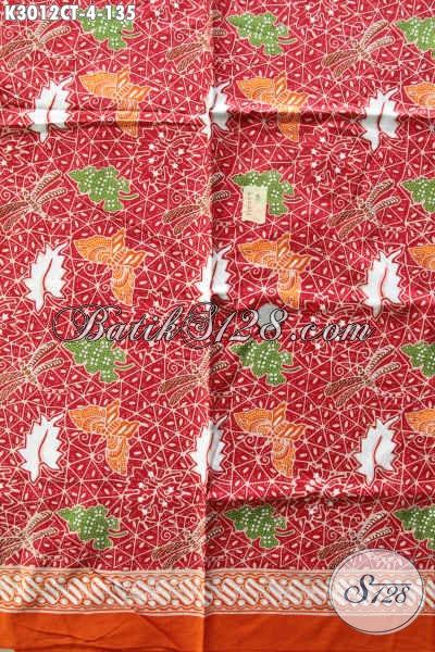 Kain Batik Warna Merah Bahan Kemeja Cowok Nan Keren, Batik Cap Tulis Trendy Modis Juga Untuk Pakaian Wanita [K3012CT-200x115cm]