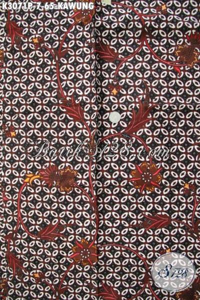 Pusat Beli Kain Baitk Murah Solo Online, Sedia Kain Batik Kawung Klasik Proses Printing Pas Buat Baju Kerja Formal [K3071P-200x115cm]