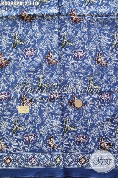 Batik Solo Bahan Paris Warna Biru Motif Bunga, Produk Terkini Untuk Busana Wanita Yang Modis Dan Cantik [K3098PR-180x110cm]