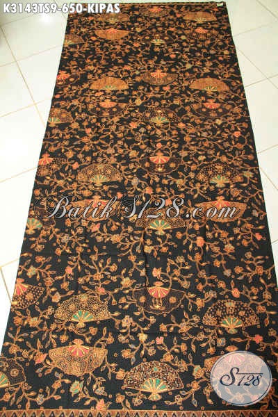 Motif batik tulis modern kipas tampak lebar