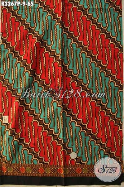 Kain Batik Klasik Motif Parang, Batik Halus Dengan Kombinasi Warna Mewah Berkelas Proses Printing, Cocok Untuk Baju Kerja Dan Acara Resmi [K3267P-200x115cm]