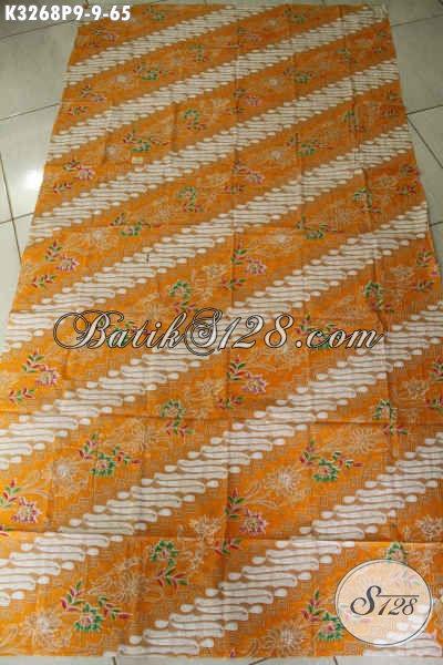 Batik Halus Motif Klasik Parang Bunga Warna Kombinasi Kuning Dan Putih, Batik Istimewa Proses Printing Cocok Buat Pakaian Wanita [K3268P-200x115cm]