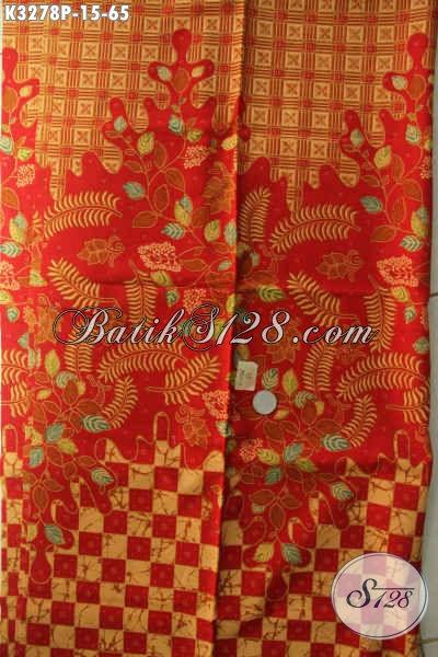 Kain Batik Elegan Warna Merah Motif Mewah Proses Printing, Batik Kain Halus Untuk Busana Formal, Menunjang Penampilan Terlihat Berkelas [K3278P-200x115cm]