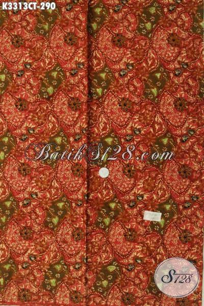 Pusat Belanja Produk Batik Online Terlengkap, Sedia Kain Batik Halus Warna Merah Motif Mewah Proses Cap Tulis, Pas Banget Untuk Baju Kerja Dan Santai Hanya 290K [K3313CT-240x110cm]