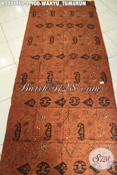 Koleksi Kain Batik Jarik Premium, Batik Etnik Khas Jawa Tengah Halus Proses Tulis Soga Motif Wahyu Tumurun Harga 900K [K3371TS-240x105cm]