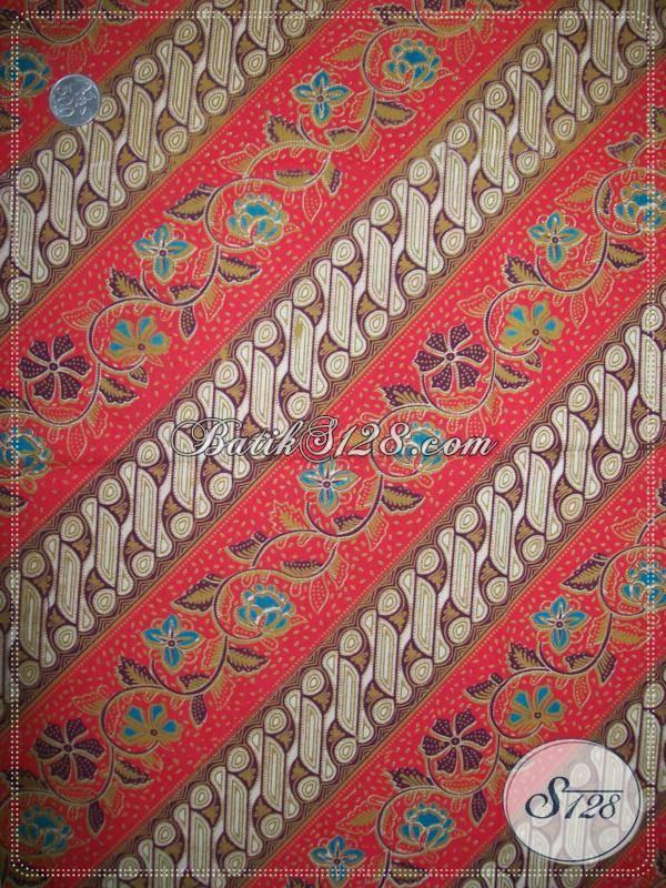 Motif Kain Batik Parang Kombinasi Bunga Asli Khas Batik Solo,Kain Batik Parang Warna Merah [K798P]