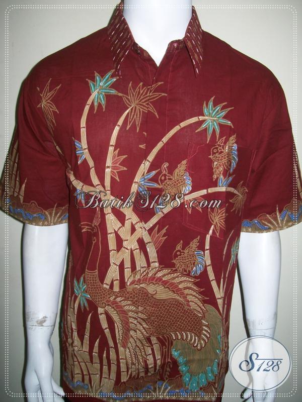 Kemeja Batik Tulis Ukuran XL Lengan Pendek Warna Merah [LD1004T-XL]