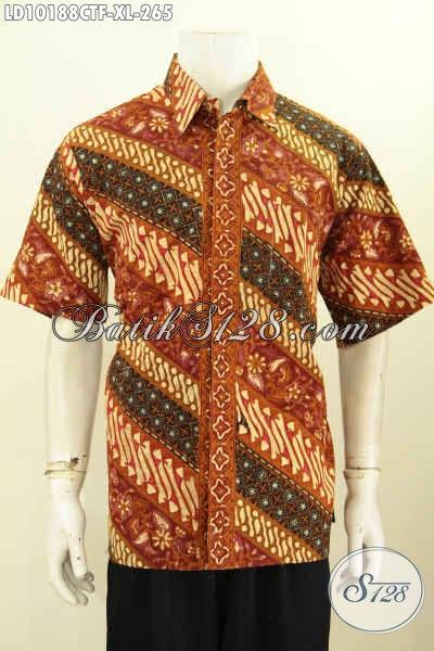 Model Baju Batik Elegan Klasik, Kemeja Lengan Pendek Mewah Full Furing Proses Cap Tulis, Pilihan Tepat Untuk Tampil Elegan Berkelas [LD10188CTF-XL]