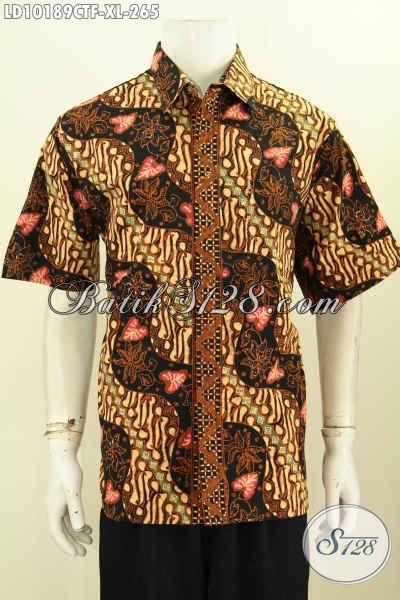Model Baju Batik Solo Jawa Tengah Terbaru, Hadir Dengan Motif Klasik Sentuhan Modern Nan Keren, Pakaian Batik Lengan Pendek Full Furing Proses Cap Tulis Harga 265K, Pas Untuk Acara Resmi [LD10189CTF-XL]