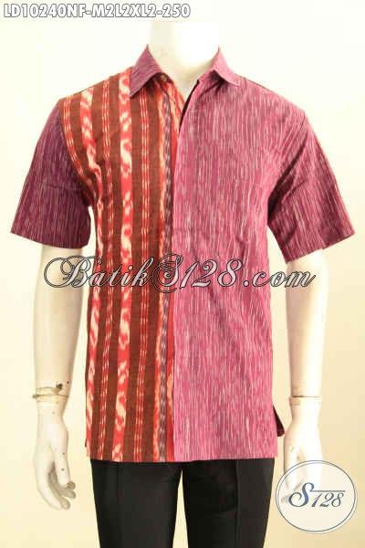 Model Baju Batik Tenun Pria Terkini, Hem Batik Mewah Berkelas Daleman Full Furing, Penampilan Terlihat Premium [LD10240NF-L]
