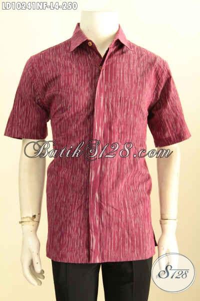 Model Baju Tenun Lengan Pendek Cowok, Pakaian Tenun Hem Modis Daleman Full Furing Bahan Halus Nyaman Di Pakai [LD10241NF-L]