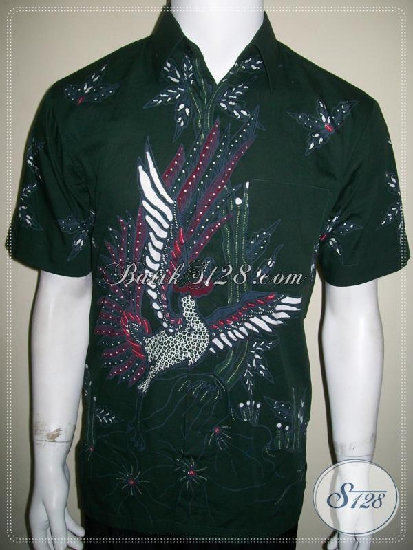 Busana Batik Pria Warna Hijau, Batik Tulis Tangan Pendek Elegan [LD1027T-M]