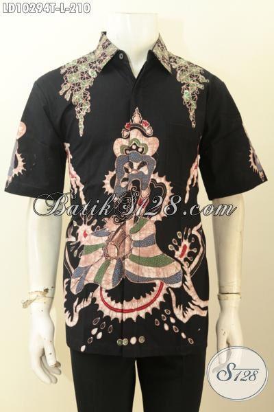 Model Baju Batik Pria Lengan Pendek Halus Masa Kini Motif Proses Tulis, Pakaian Batik Kwalitas Mewah Full Furing Hanya 200 Ribuan [LD10294T-L]
