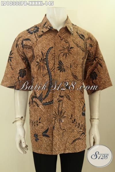 Model Baju Batik Pakaian Kerja Lelaki Gemuk Untuk Penampilan Lebih Istimewa, Busana Batik Modis Halus Masa Kini Lengan Pendek 5L, Penampilan Lebih Rapi Dan Keren [LD10333PB-XXXXL]