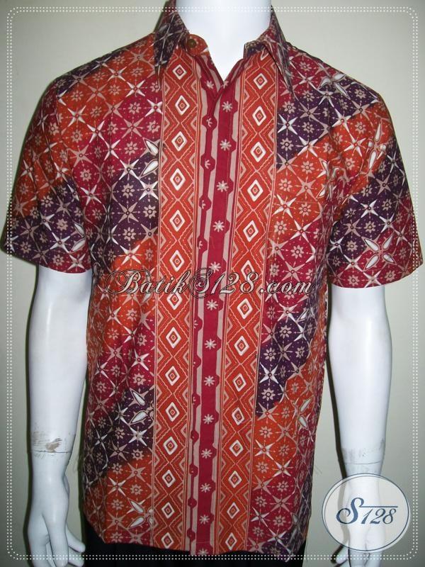 Pakaian Batik Kerja Pria Ukuran M Lengan Pendek Elegan [LD1038CT-M]
