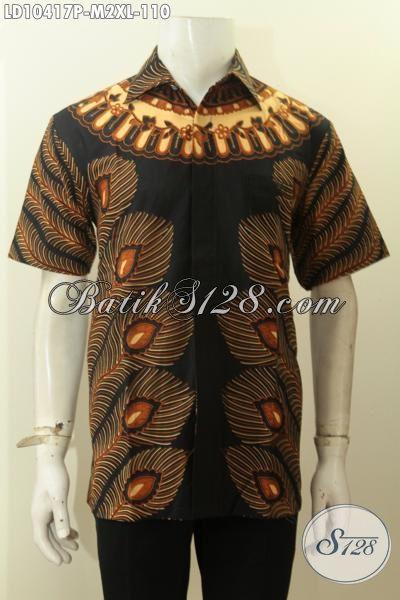 Model Baju Batik Keren Pria Muda Dan Dewasa, Hem Batik Trendy Motif Bulu Merak Kwalitas Bagus Proses Printing Yang Bikin Penampilan Lebih Tampan [LD10417P-M]