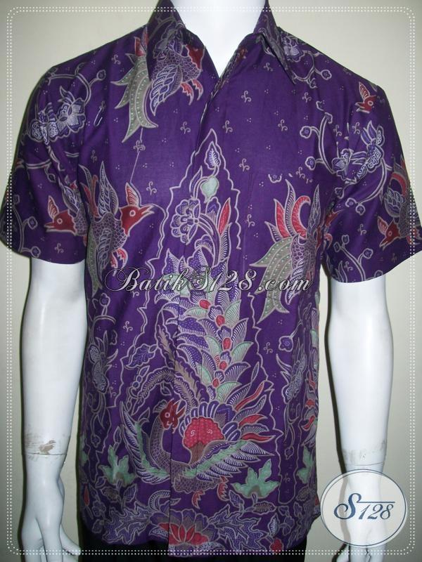 Baju Batik Pria Warna Ungu Keren Dan Elegan, Harga Murah Kualitas Bagus, Buktikan ! [LD1047P-M]