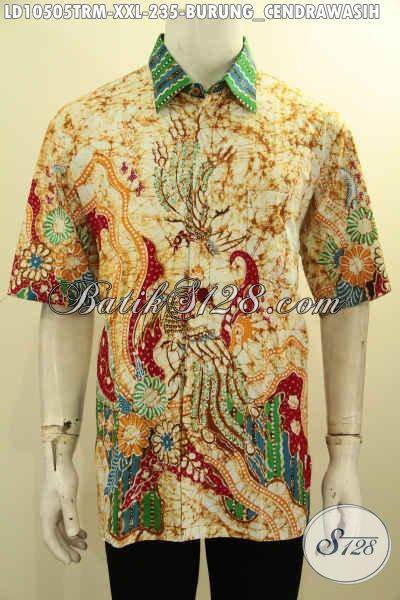 Model Baju Batik Solo Lengan Pendek Exclusive Buat Pria Gemuk, Kemeja Modis Kwalitas Istimewa Motif Keren Proses Tulis Remekan Harga 235K [LD10505TRM-XXL]