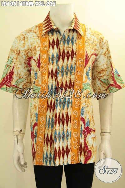 Model Pakaian Batik Lengan Pendek Untuk Ke Kantor, Hem Batik Tulis Remekan Buat Gaul, Bahan Adem Motif Unik Harga 200 Ribuan [LD10514TRM-XXL]