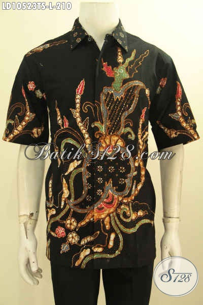 Model Baju Batik Kerja Kantoran Untuk Pria Size L, Busana Batik Kemeja Dasar Hitam Motif Keren, Tampil Terlihat Gagah Elegan [LD10523TS-L]