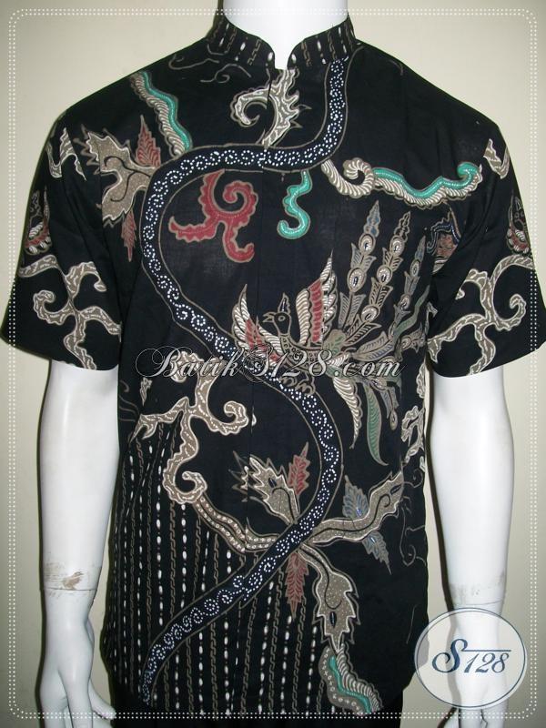 Batik Tulis Koko Kerah Shanghai Pria Warna Hitam Keren [LD1053TK-M]