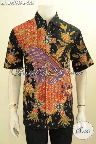 Hem Batik Trendy Full Furing Ukuran L Untuk Pria Tampil Modis, Kemeja Batik Tulis Solo Berkelas Lengan Pendek, Pas Buat Acara Resmi [LD10608TF-L]
