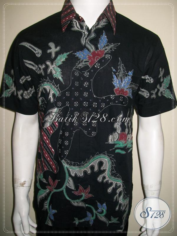 Batik Tulis Abstrak Pola Pria Lengan Pendek Bagus Warna Hitam [LD1061T-M]
