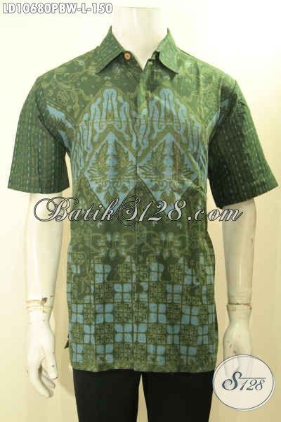 Pusat Baju Batik Pria Online, Sedia Kemeja Lengan Pendek Warna Hijau Motif Baru Proses Printing Cabut, Pas Buat Santai Dan Resmi [LD10680PBW-L]
