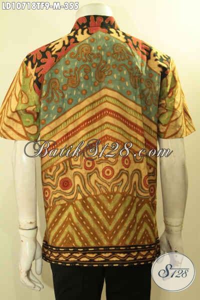 Koleksi Terbaru Kemeja Batik Lengan Pendek Motif Sinaran, Hem Batik Solo Full Furing Bahan Adem Proses Tulis, Penampilan Lebih Istimewa [LD10718TF-M]
