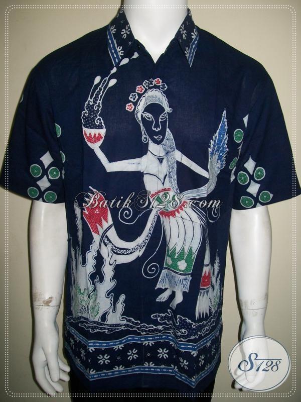 Batik Penari Bali, Motif Unik Warna Biru, Batik Tulis Lengan Pendek [LD1071T-L]