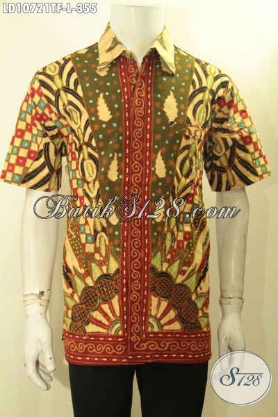 Jual Baju Batik Pria Kwalitas Istimewa, Kemeja Batik Lelaki Terbaru Motif Sinaran Rilis 2020 Desain Elegan Lengan Pendek Harga 355K [LD10721TF-L]