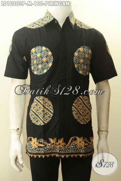 Model Kemeja Batik Pria Warna Hitam Dengan Motif Piringan, Batik Halus Proses Printing Bahan Adem Lengan Pendek, Cocok Untuk Jalan-Jalan Dan Acara Santai [LD10803-M]