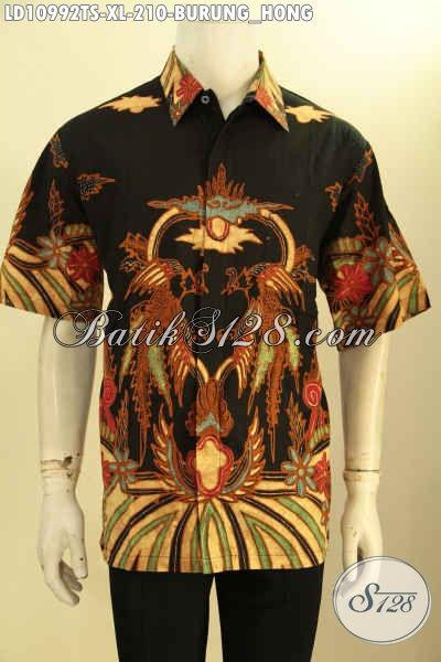 Hem Batik Pria Kwalitas Istimewa, Kemeja Batik Modis Desain Terkini Lengan Pendek Motif Burung Hong Proses Tulis Soga, Pilihan Tepat Untuk Tampil Elegan Dan Keren